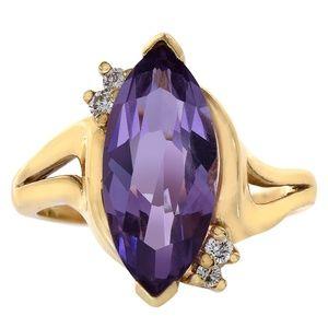 3.00 Carat Amethyst & 0.08 Carat Diamond Ring
